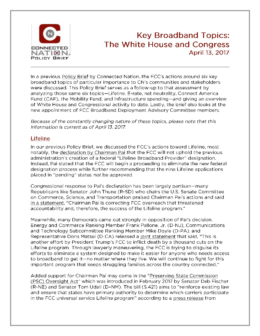 Key Broadband Topics: The White House and Congress