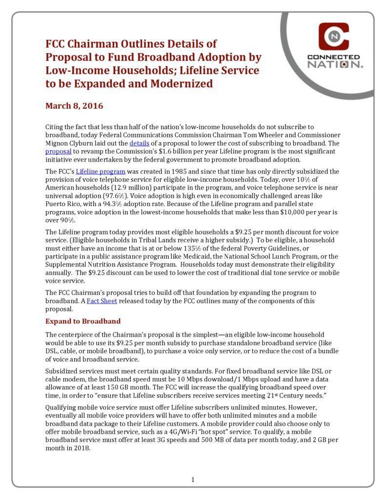 thumbnail of FCC Chairman Outlines Details of Proposal to Fund Broadband Adoption by Low-Income Households; Lifeline Service to be Expanded and Modernized