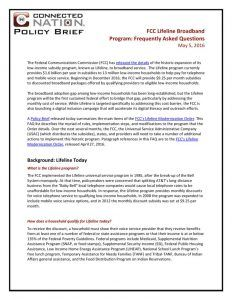 thumbnail of FCC Lifeline Broadband Program: Frequently Asked Questions