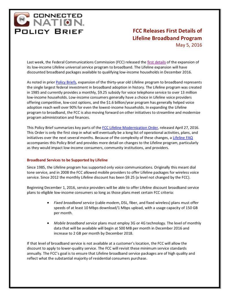 thumbnail of FCC Releases First Details of Lifeline Broadband Program