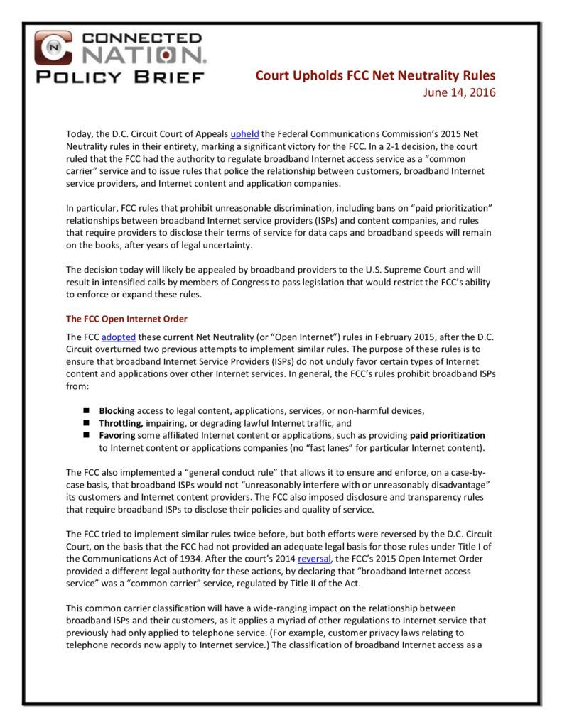 thumbnail of Court Upholds FCC Net Neutrality Rules