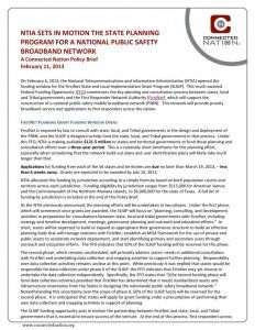 thumbnail of NTIA Sets in Motion the State Planning Program for a National Public Safety Broadband Network: A Connected Nation Policy Brief