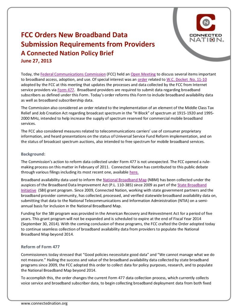 thumbnail of FCC Orders New Broadband Data Submission Requirements from Providers: A Connected Nation Policy Brief