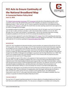 thumbnail of FCC Acts to Ensure Continuity of the National Broadband Map: A Connected Nation Policy Brief