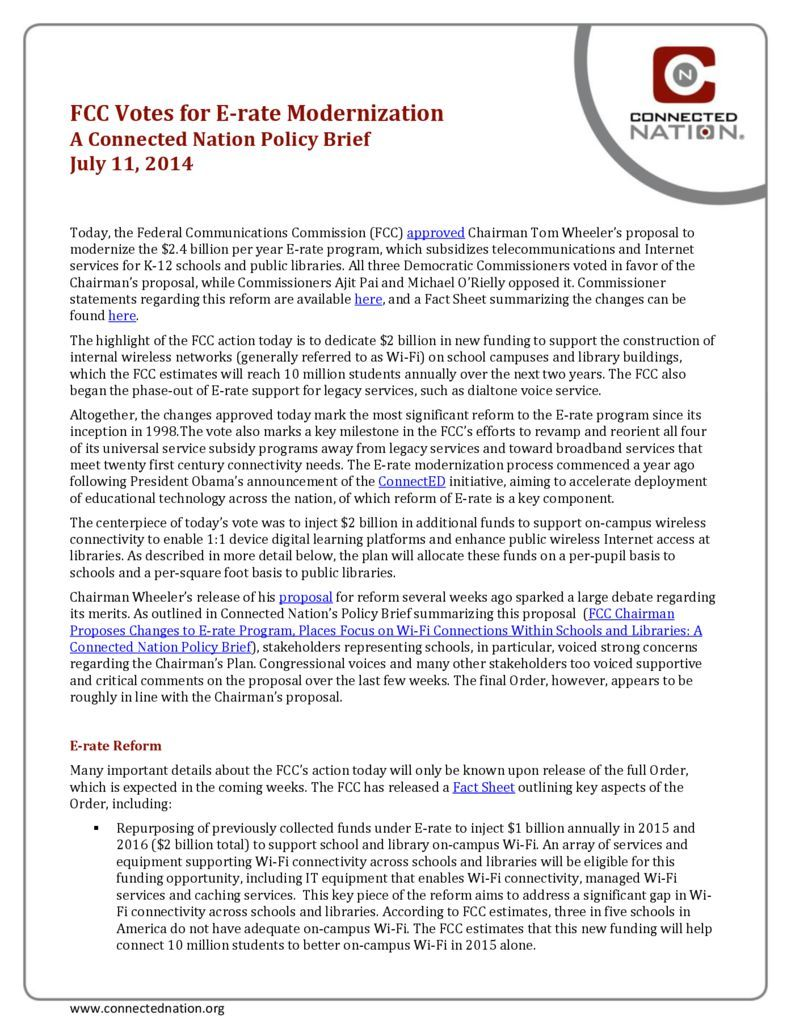 thumbnail of FCC Votes for E-rate Modernization: A Connected Nation Policy Brief