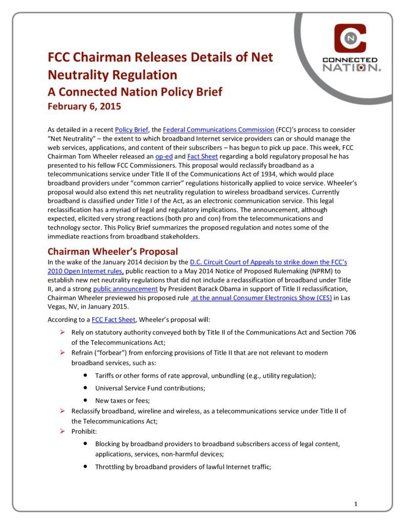 thumbnail of FCC Chairman Releases Details of Net Neutrality Regulation: A Connected Nation Policy Brief