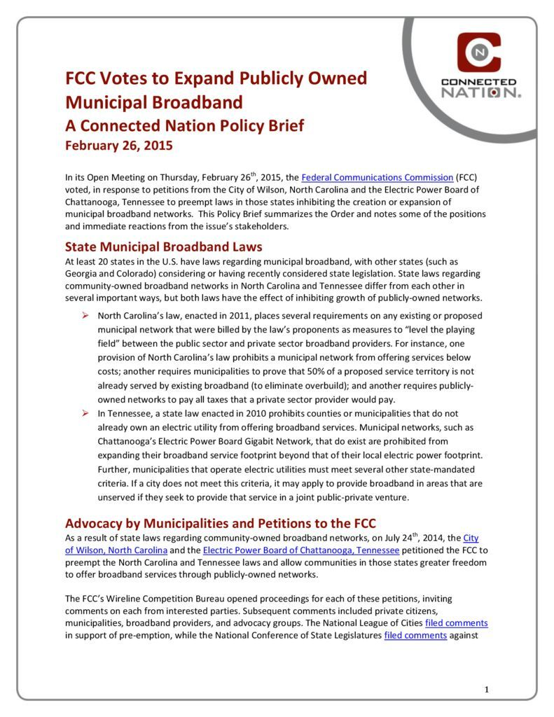 thumbnail of FCC Votes to Expand Publicly Owned Municipal Broadband: A Connected Nation Policy Brief
