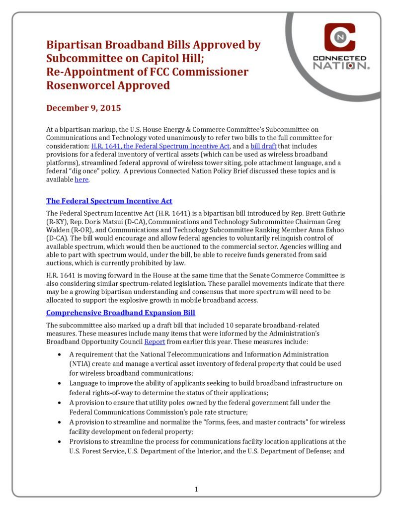 thumbnail of Bipartisan Broadband Bills Approved by Subcommittee on Capitol Hill; Re-Appointment of FCC Commissioner Rosenworcel Approved: A Connected Nation Policy Brief