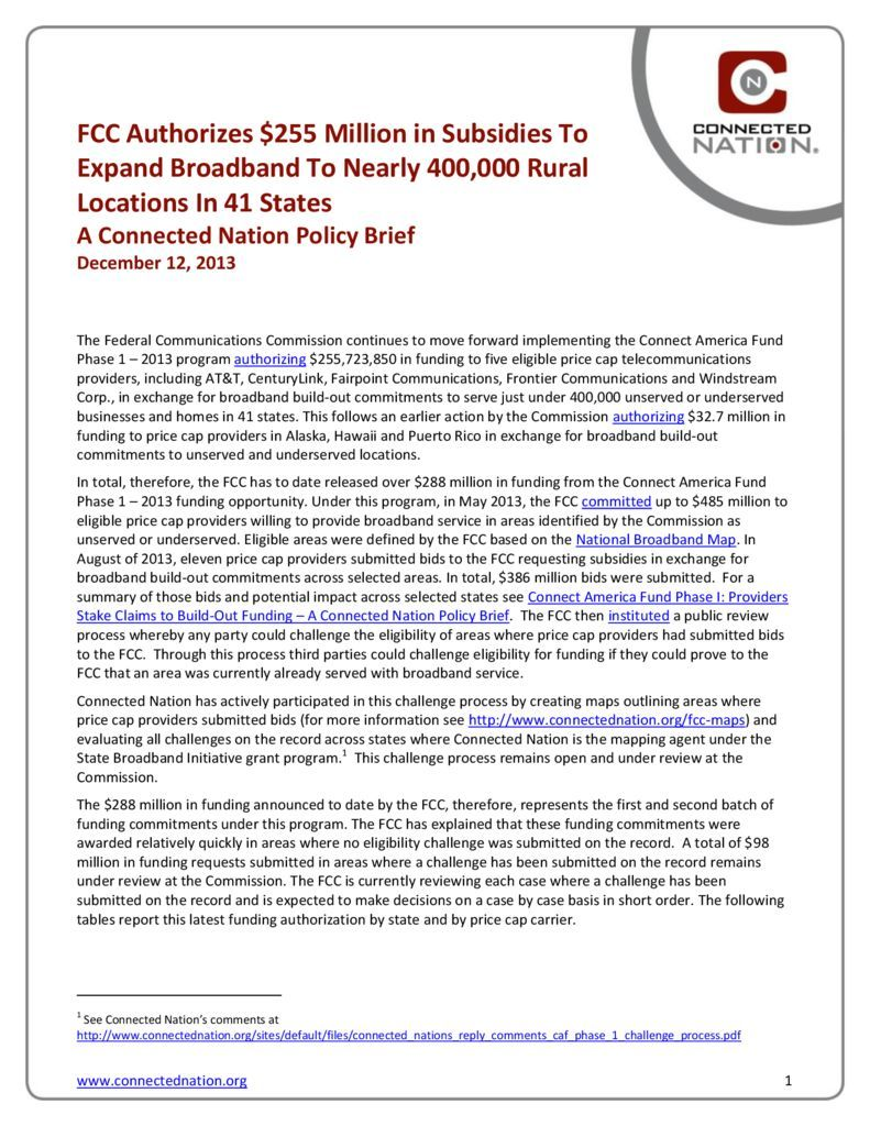 thumbnail of FCC Authorizes $255 Million in Subsidies To Expand Broadband To Nearly 400,000 Rural Locations In 41 States: A Connected Nation Policy Brief