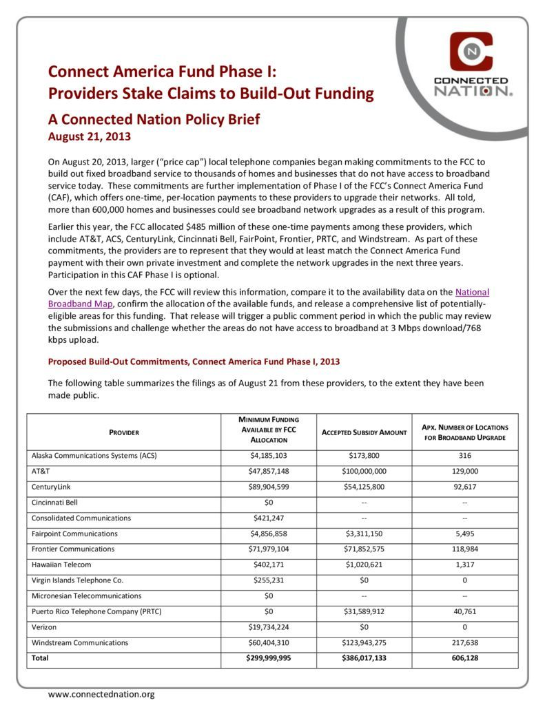 thumbnail of Connect America Fund Phase I: Providers Stake Claims to Build-Out Funding: A Connected Nation Policy Brief