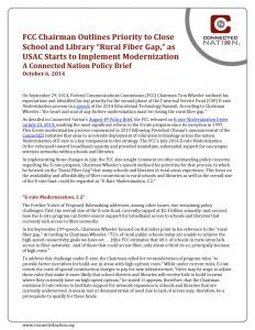 "thumbnail of FCC Chairman Outlines Priority to Close School and Library ""Rural Fiber Gap,"" as USAC Starts to Implement Modernization: A Connected Nation Policy Brief"