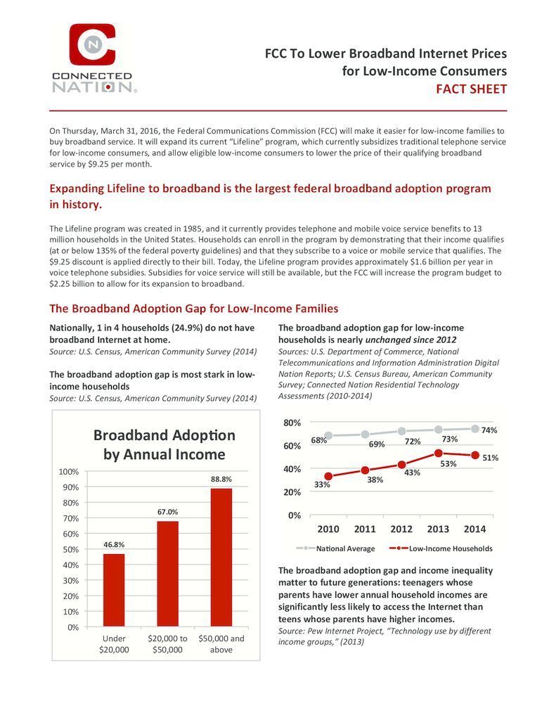 thumbnail of FCC To Lower Broadband Internet Prices for Low-Income Consumers – FACT SHEET