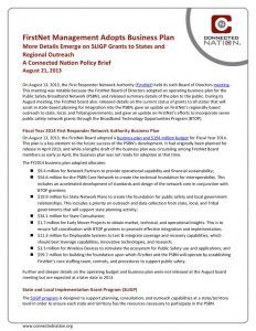 thumbnail of FirstNet Management Adopts Business Plan More Details Emerge on SLIGP Grants to States and Regional Outreach: A Connected Nation Policy Brief