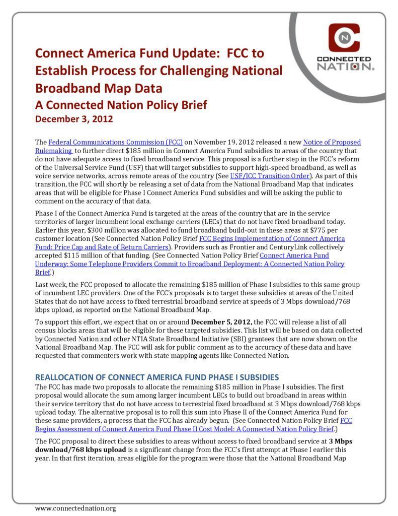 thumbnail of Connect America Fund Update: FCC to Establish Process for Challenging National Broadband Map Data: A Connected Nation Policy Brief