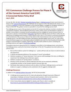 thumbnail of FCC Commences Challenge Process for Phase II of the Connect America Fund (CAF): A Connected Nation Policy Brief