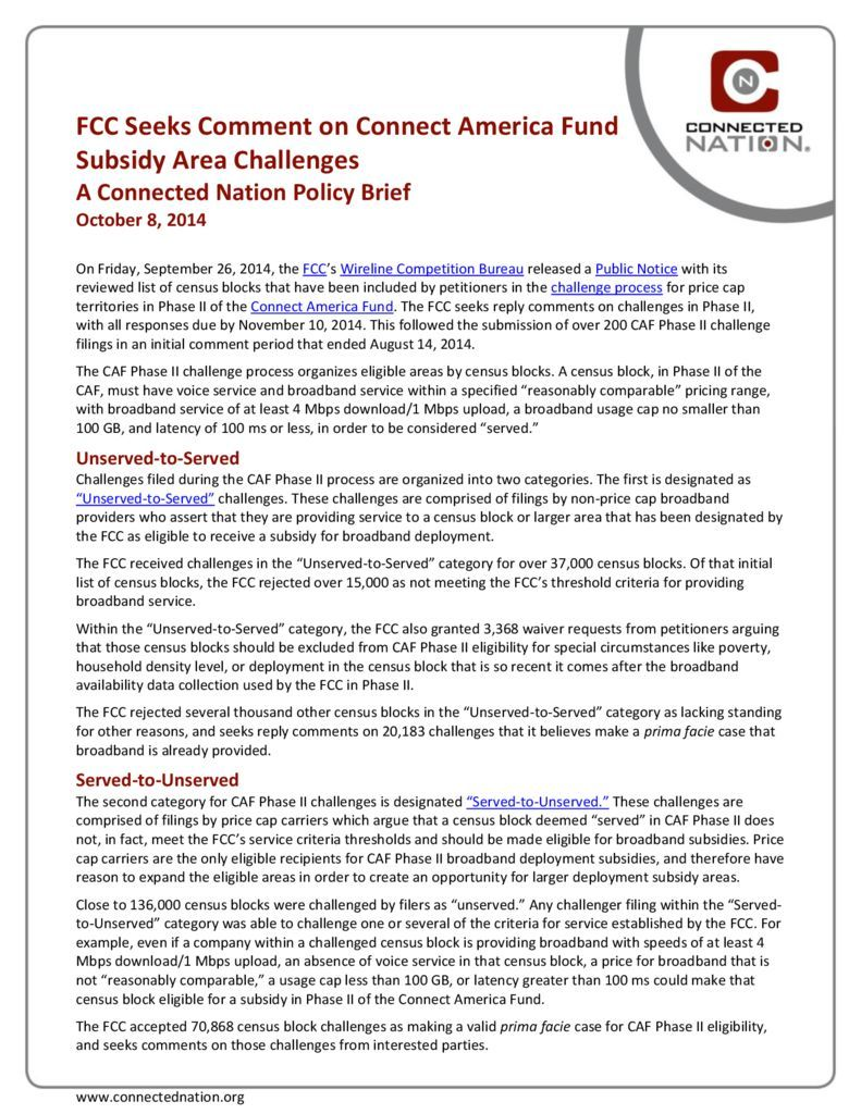 thumbnail of FCC Seeks Comment on Connect America Fund Subsidy Area Challenges: A Connected Nation Policy Brief