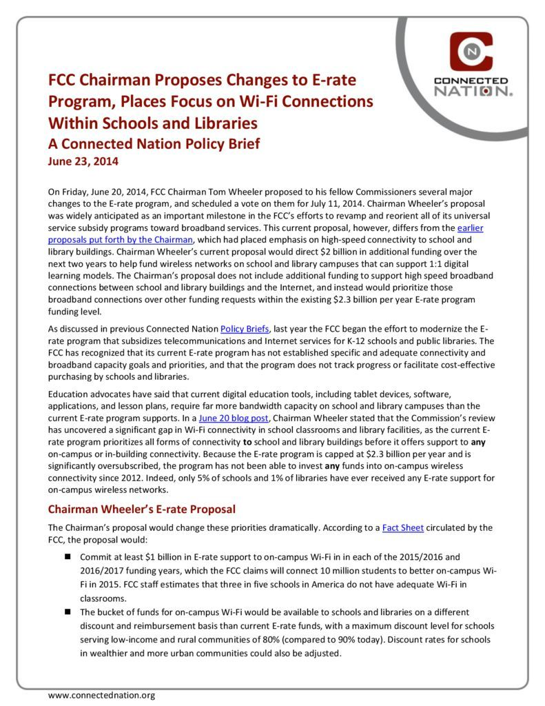 thumbnail of FCC Chairman Proposes Changes to E-rate Program, Places Focus on Wi-Fi Connections Within Schools and Libraries: A Connected Nation Policy Brief