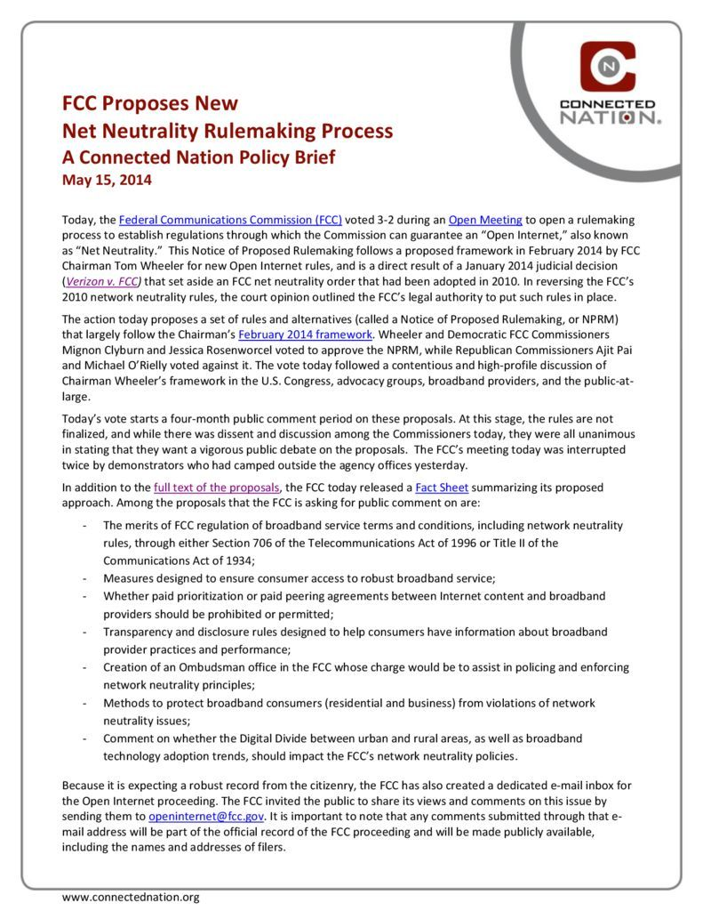 thumbnail of FCC Proposes New Net Neutrality Rulemaking Process: A Connected Nation Policy Brief