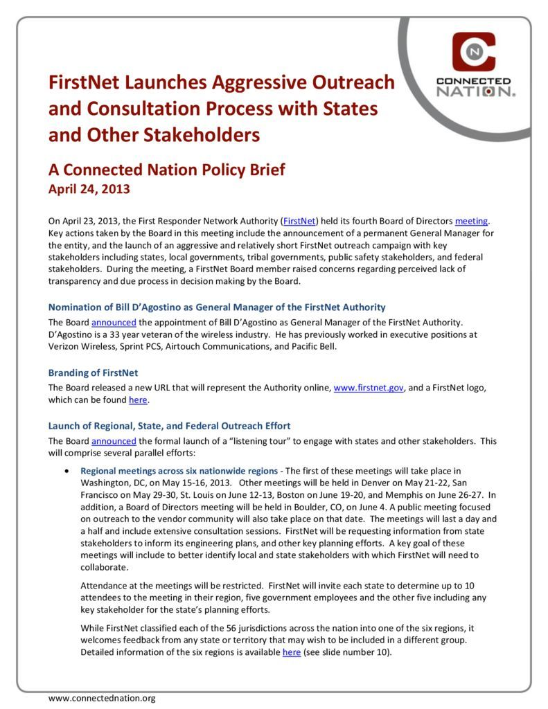 thumbnail of FirstNet Launches Aggressive Outreach and Consultation Process with States and Other Stakeholders: A Connected Nation Policy Brief
