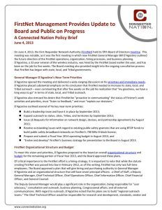 thumbnail of FirstNet Management Provides Update to Board and Public on Progress: A Connected Nation Policy Brief