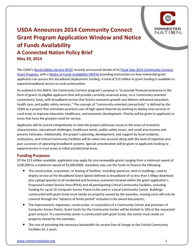 thumbnail of USDA Announces 2014 Community Connect Grant Program Application Window and Notice of Funds Availability: A Connected Nation Policy Brief