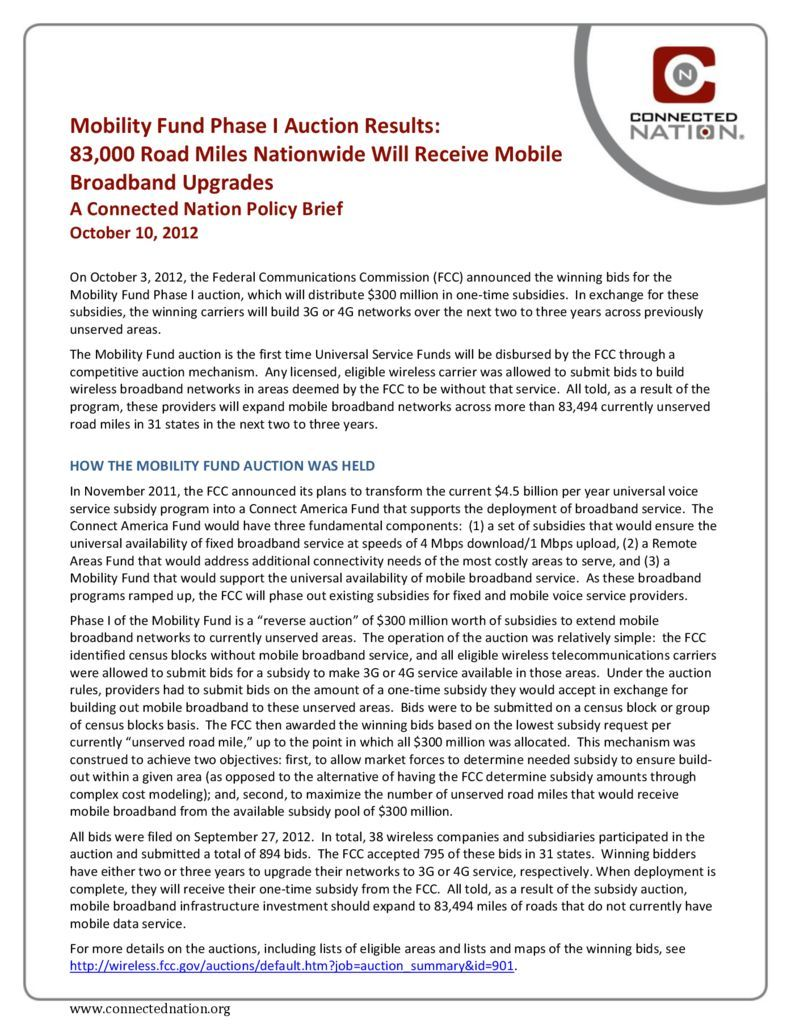 thumbnail of Mobility Fund Phase I Auction Results: 83,000 Road Miles Nationwide Will Receive Mobile Broadband Upgrades: A Connected Nation Policy Brief