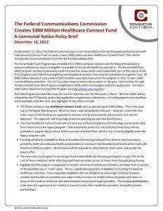 thumbnail of The Federal Communications Commission Creates $400 Million Healthcare Connect Fund: A Connected Nation Policy Brief