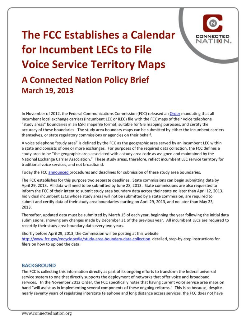 thumbnail of The FCC Establishes a Calendar for Incumbent LECs to File Voice Service Territory Maps: A Connected Nation Policy Brief