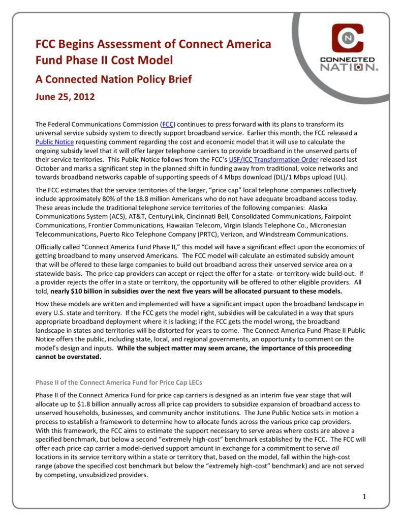 thumbnail of FCC Begins Assessment of Connect America Fund Phase II Cost Model: A Connected Nation Policy Brief