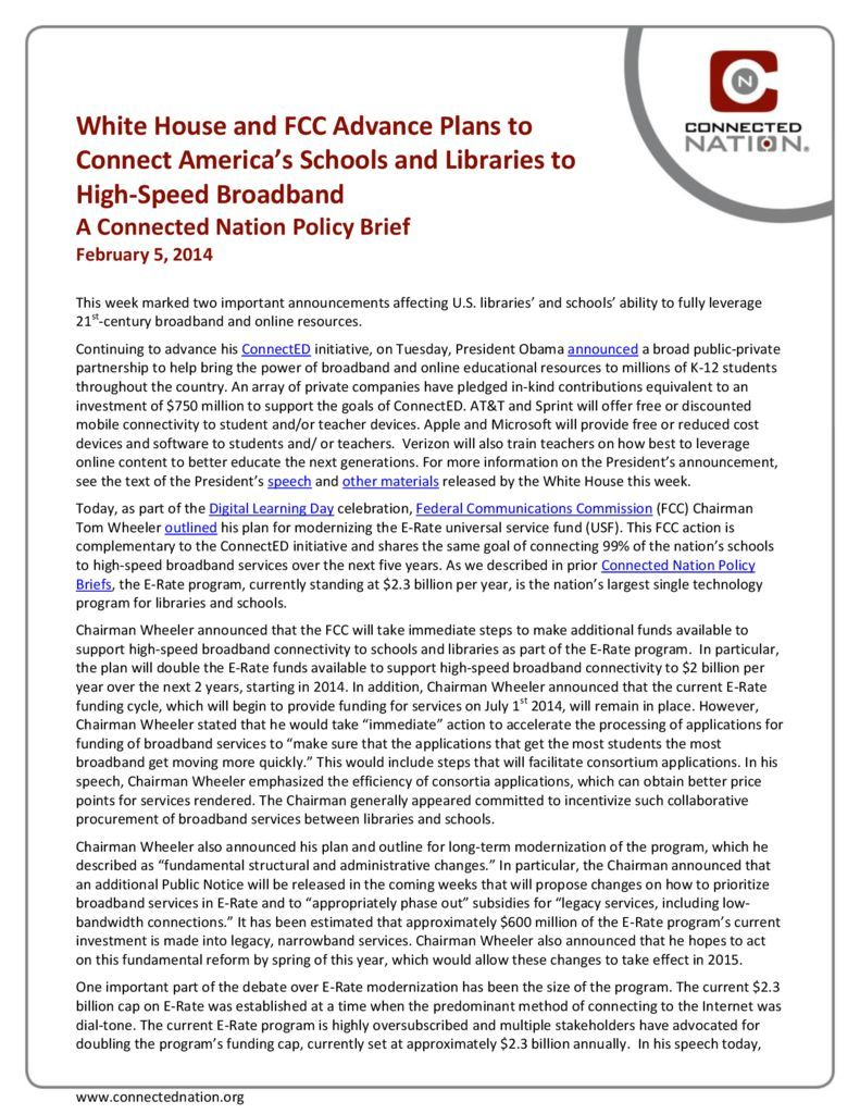 thumbnail of White House and FCC Advance Plans to Connect America's Schools and Libraries to High-Speed Broadband: A Connected Nation Policy Brief