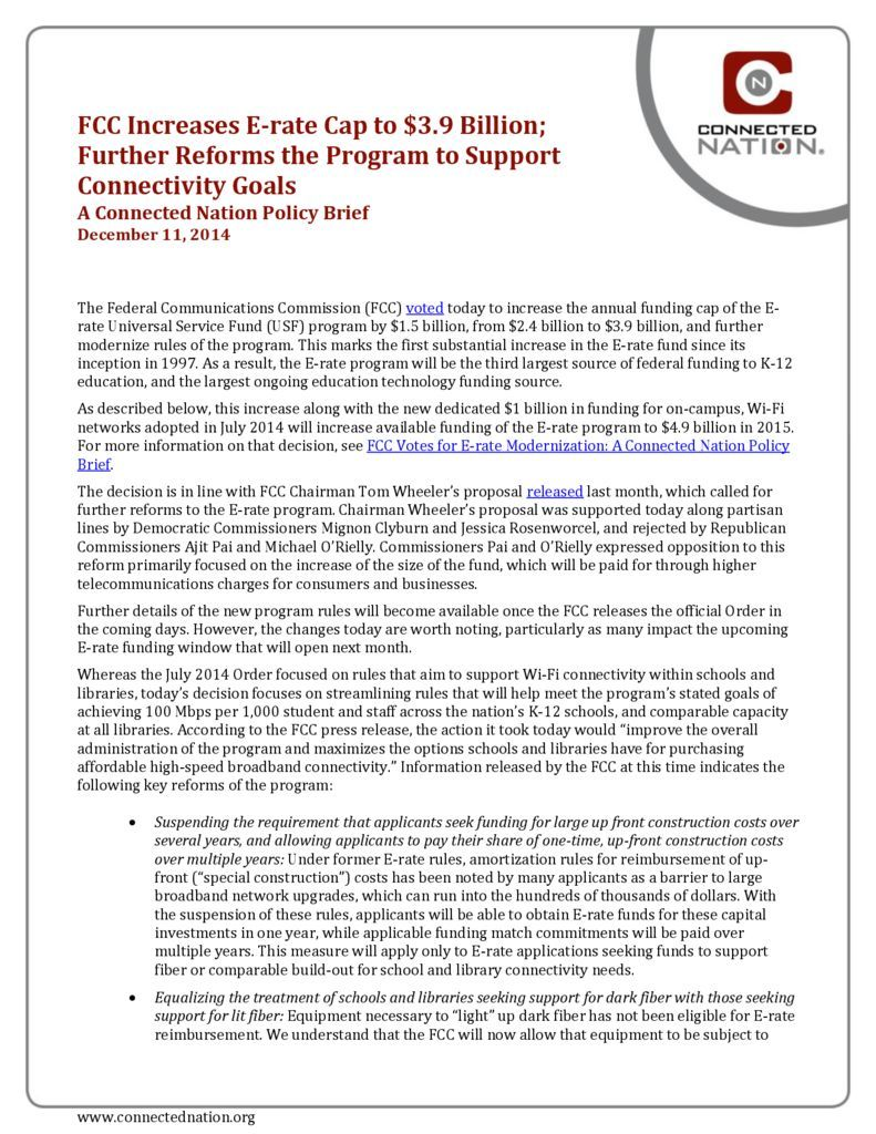 thumbnail of FCC Increases E-rate Cap to $3.9 Billion; Further Reforms the Program to Support Connectivity Goals: A Connected Nation Policy Brief