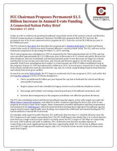 thumbnail of FCC Chairman Proposes Permanent $1.5 Billion Increase in Annual E-­‐rate Funding: A Connected Nation Policy Brief