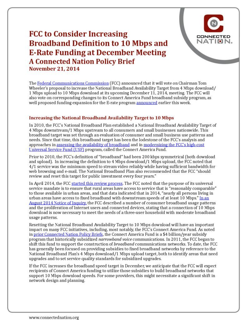 thumbnail of FCC to Consider Increasing Broadband De3inition to 10 Mbps and E-­‐Rate Funding at December Meeting: A Connected Nation Policy Brief
