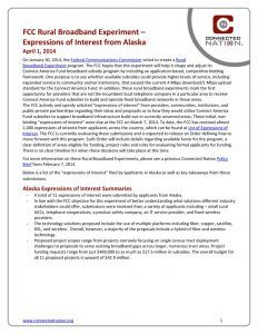 thumbnail of FCC Rural Broadband Experiment: Expressions of Interest from Alaska