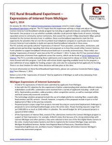 thumbnail of FCC Rural Broadband Experiment: Expressions of Interest from Michigan