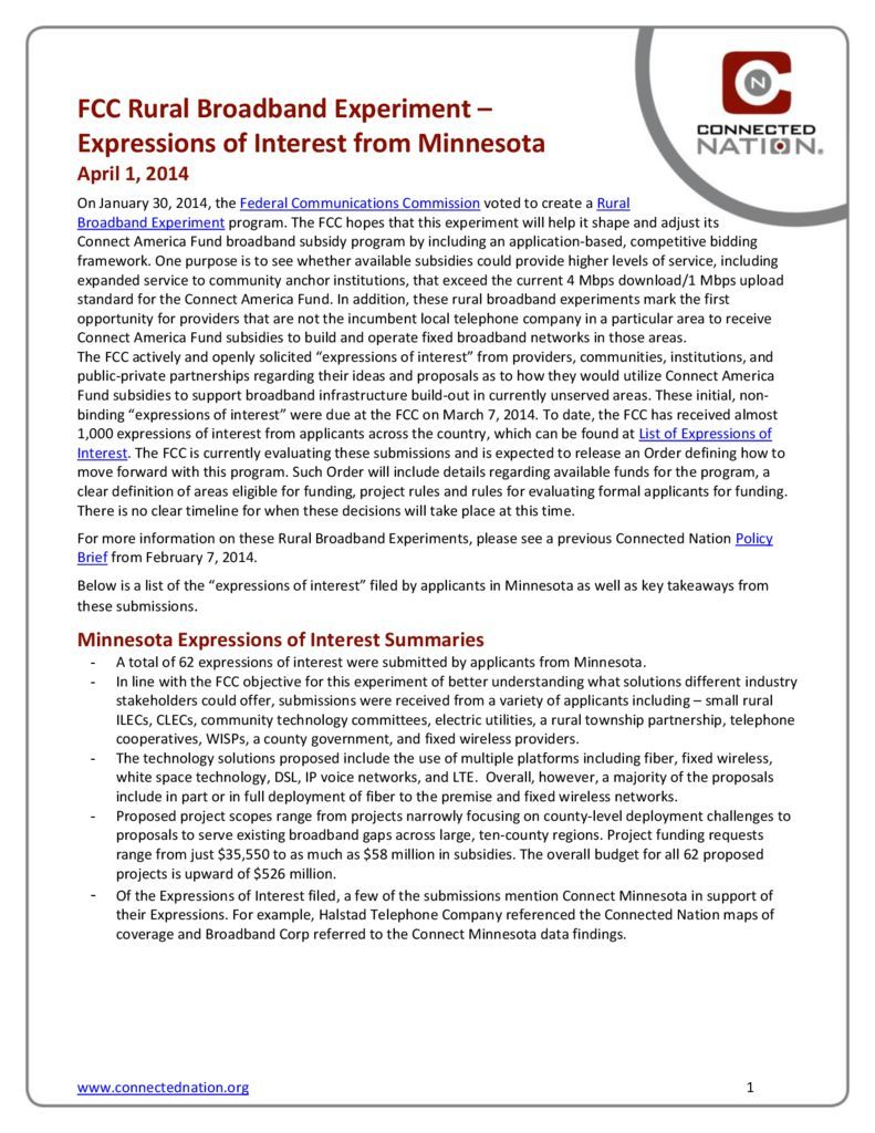 thumbnail of FCC Rural Broadband Experiment: Expressions of Interest from Minnesota