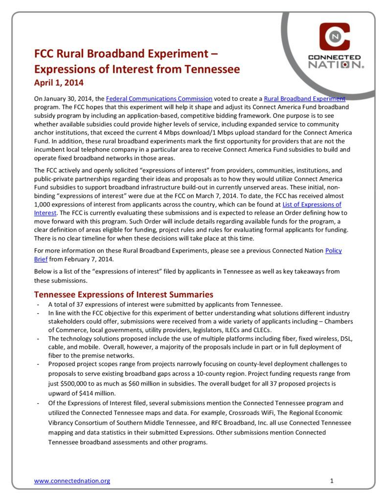 thumbnail of FCC Rural Broadband Experiment: Expressions of Interest from Tennessee