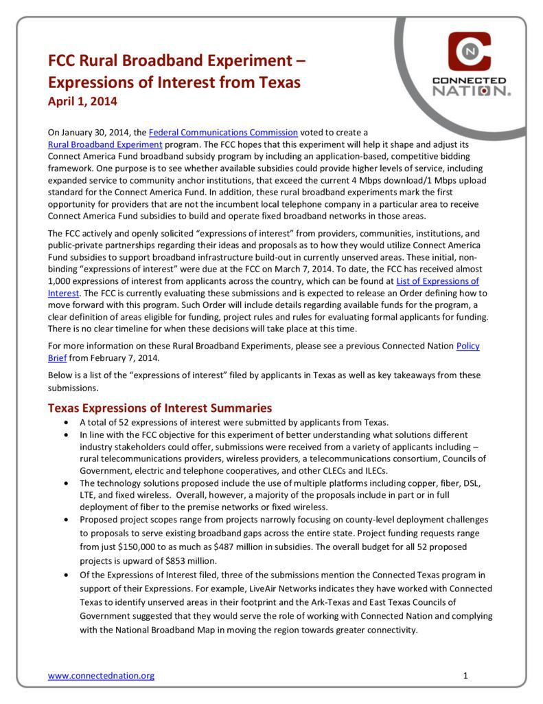thumbnail of FCC Rural Broadband Experiment: Expressions of Interest from Texas