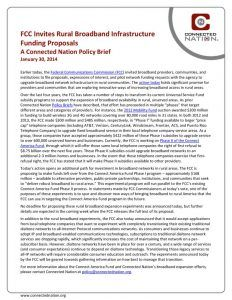 thumbnail of FCC Invites Rural Broadband Infrastructure Funding Proposals: A Connected Nation Policy Brief