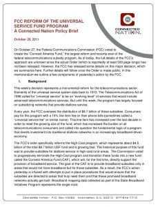 thumbnail of FCC Reform of the Universal Service Fund Program: A Connected Nation Policy Brief
