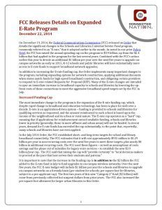 thumbnail of FCC Releases Details on Expanded E-Rate Program