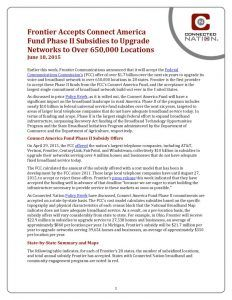 thumbnail of Frontier Accepts Connect America Fund Phase II Subsidies to Upgrade Networks to Over 650,000 Locations: A Connected Nation Policy Brief