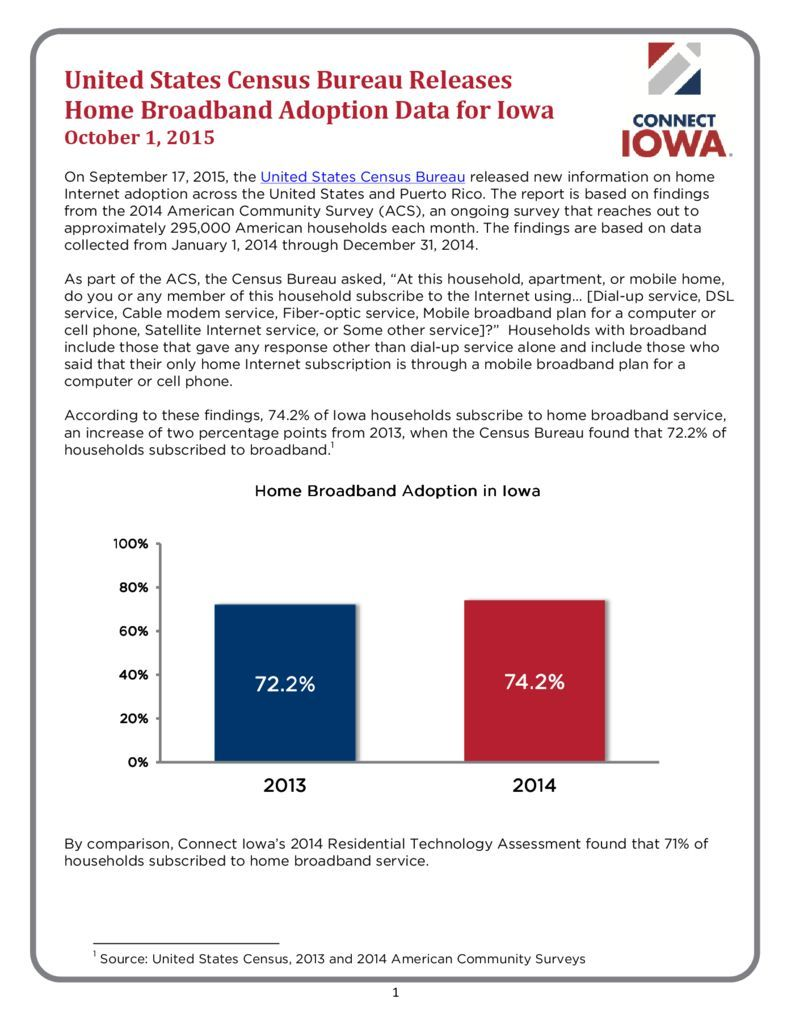thumbnail of United States Census Bureau Releases Home Broadband Adoption Data for Iowa