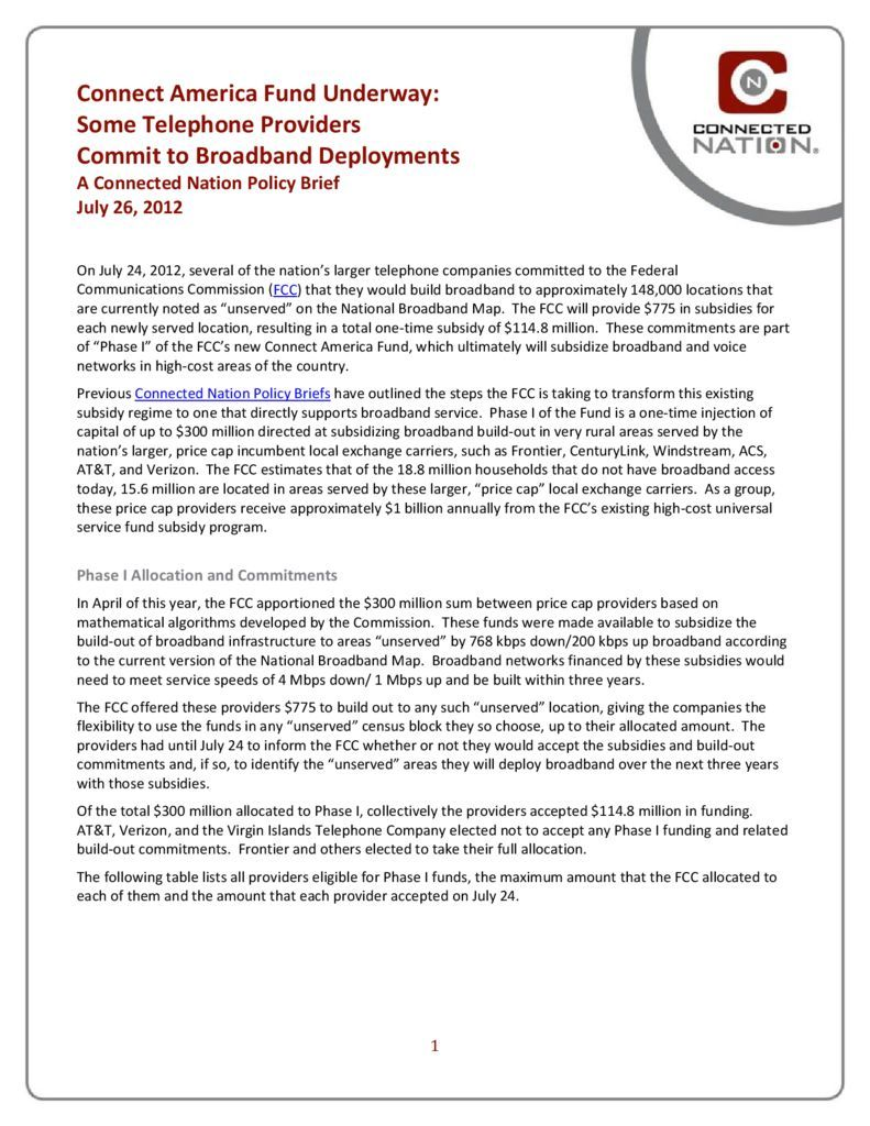 thumbnail of Connect America Fund Underway: Some Telephone Providers Commit to Broadband Deployment: A Connected Nation Policy Brief