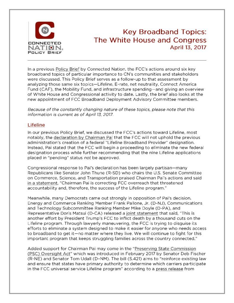 thumbnail of Policy Brief: Key Broadband Topics–The White House and Congress (as of April 13, 2017)