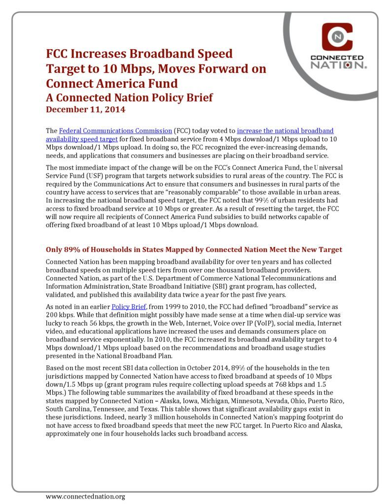 thumbnail of FCC Increases Broadband Speed Target to 10 Mbps, Moves Forward on Connect America Fund: A Connected Nation Policy Brief