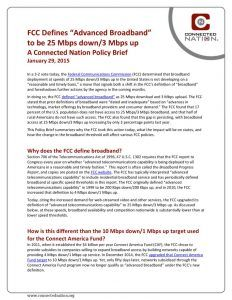 "thumbnail of FCC Defines ""Advanced Broadband"" to be 25 Mbps down/3 Mbps up: A Connected Nation Policy Brief"