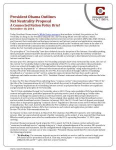thumbnail of President Obama Outlines Net Neutrality Proposal: A Connected Nation Policy Brief