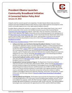 thumbnail of President Obama Launches Community Broadband Initiative: A Connected Nation Policy Brief