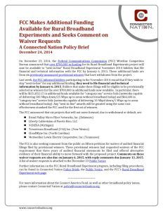 thumbnail of FCC Makes Additional Funding Available for Rural Broadband Experiments and Seeks Comment on Waiver Requests: A Connected Nation Policy Brief